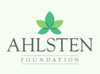 "A green background with a green floral logo above ""Ahlsten Foundation"""
