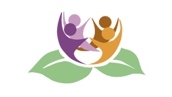 Lotus Bloom's logo showing the likeness of humans in dark purple, lavender, terra cotta and orange, as if they are blossoming out of a pair of green leaves.