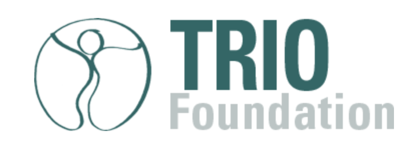"A green symbol of a human figure in a circle next to green and greyed text reads, ""TRIO Foundation"""